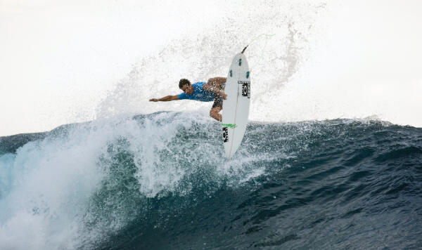 Italo Ferreira gets air on a wave at the Fiji Pro.