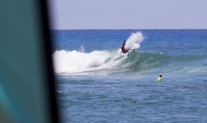Eala Stewart advancing in first place in the Round of 96 at the Local Motion Surf Into Summer.