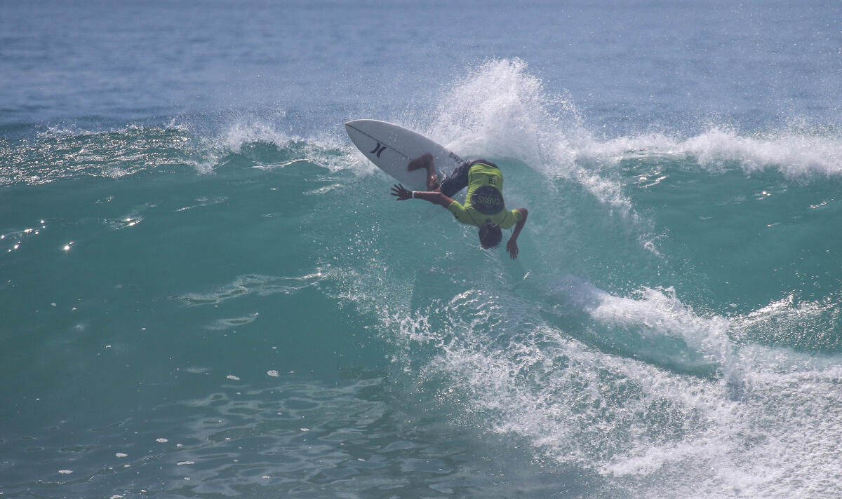 Nicholas Coli (USA) winning his Round 2 heat at the Los Cabos Open of Surf Men's Pro Junior.