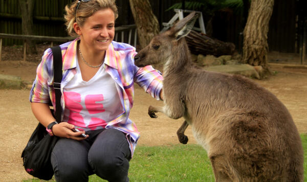 Pauline Ado with her kangaroo friend at Sydney's Taronga Zoo. Pic ASP/Hayden-Smith