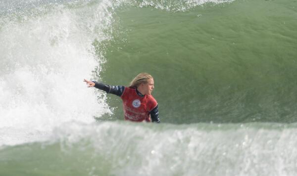 Laura Enever from Sydney Australia surfing the Port Taranaki Pro in New Zealand.
