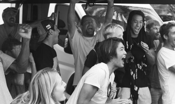 Kanoa Igarashi cheering at the Vans World Cup.
