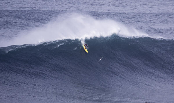Jamie Mitchell made his Nazaré debut on Wednesday, Dec 23, putting his legendary paddling skills to the test. Photo: Guilherme Soares/WSL Big Wave