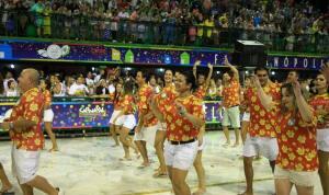 The Uniao da Ilha da Magia (Union of the Magic Island) dances at Carnaval in Florianopolis.