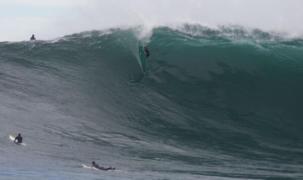 Young Greg Long cut his big-wave chops out at Todos. Photo: Rob Brown.