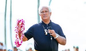 Billy Mitchell (kahu) at the 2014 Eddie Aikau ceremony.