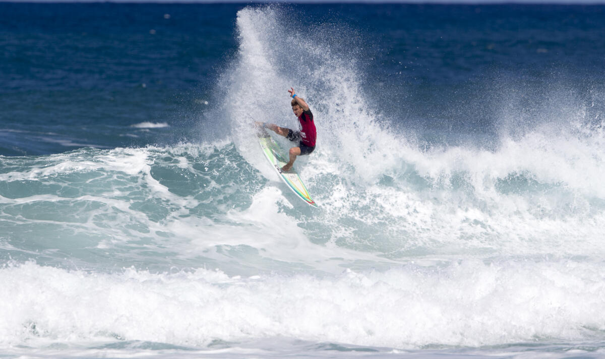 Matthew McGillivray of South Africa advances in first from round two heat one to the round of 96 in the Volcom Pipe Pro 2018 held at Pipeline, Haleiwa, Oahu, Hawaii