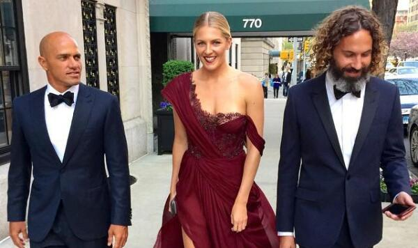 Gilmore at Met Gala with Kelly Slater.