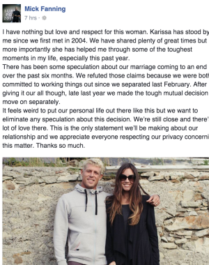 The three time champion and his wife have amicably decided to split